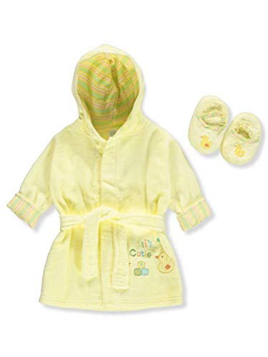Big Oshi Unisex Baby Bathrobe   Slippers Set - Yellow 7ed5a0ade