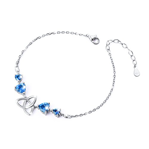 - SILVER MOUNTAIN S925 Sterling Silver Good Luck Irish Celtic Trinity Love Knot Bracelet for Women (Blue Cubic Zirconia)