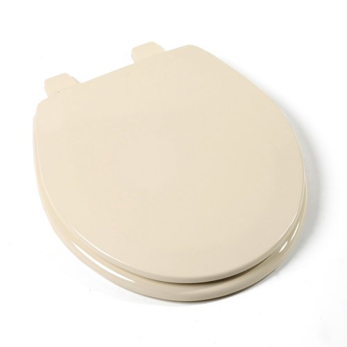 -03 Deluxe Molded Wood Toilet Seat, Round, Almond ()