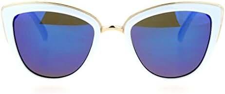 SA106 Womens Color Mirror mirrored Lens Oversize Cat Eye Sunglasses
