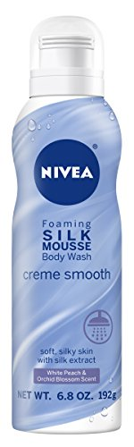 Nivea Creme Smooth Foaming Silk Mousse Body Wash, White Peach and Orchid Blossom, 6.8 Ounce