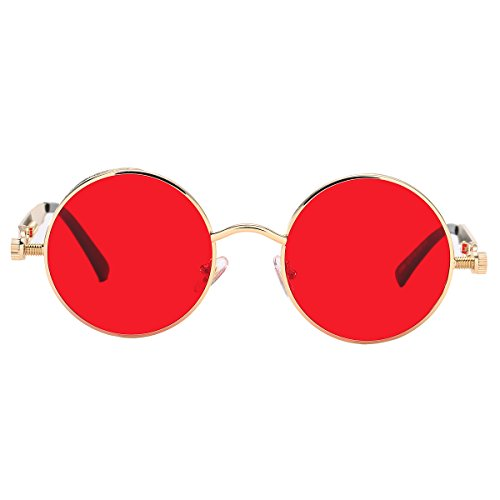 Pro Acme Metal Spring Frame Round Steampunk Sunglasses Clear Lens Available Gold Frame/T Red Lens