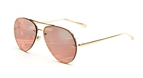 GAMT Vintage Rimless Aviator Sunglasses Mirrored Clear Lens Designer for Women Pink - Sunglasses Vintage Aviator