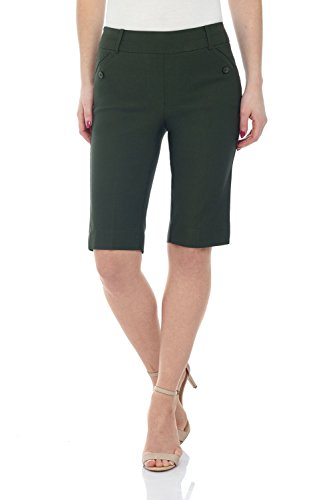 - Rekucci Women's Ease Into Comfort Modern Pull On Bermuda Short with Pockets (12,Olive)