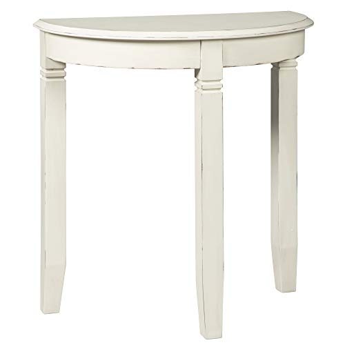 - Ashley Furniture Signature Design - Birchatta Console Table - Moon-Shaped - Distressed Antiqued White Finish