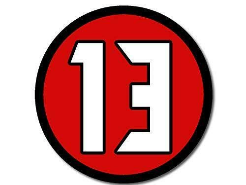 (MAGNET 4x4 inch Round #13 Mike Evans Sticker (Player Buccaneers bucs Number Tampa Bay) Magnetic vinyl bumper sticker sticks to any metal fridge, car,)