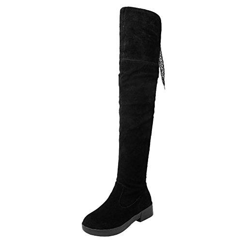 Carolbar Womens Zip Blonder-up Retro Sjarm Lav Hæl Ridning Lår Boots Black