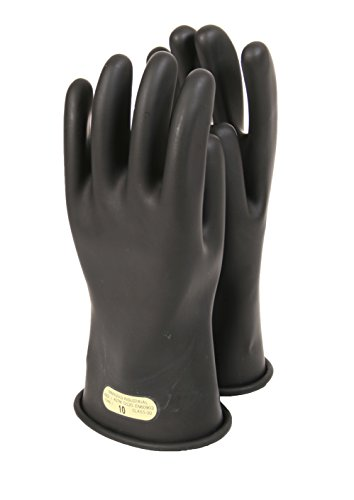 National Safety Apparel DWH11010 Class 0 Rubber Voltage Gloves, 11'', Size 10, Black by National Safety Apparel Inc