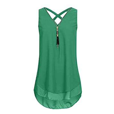 CUCUHAM Women Loose Sleeveless Cross Back Hem Layed Zipper V-Neck T Shirts Tops