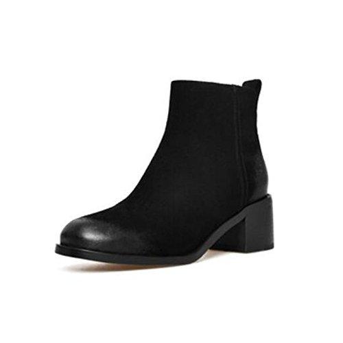 HSXZ Damenschuhe PU Winter fallen Comfort Stiefel Stiefel Stiefel Blockabsatz Round toe Stiefelies Stiefeletten für Casual Lila Schwarz 5c88d4