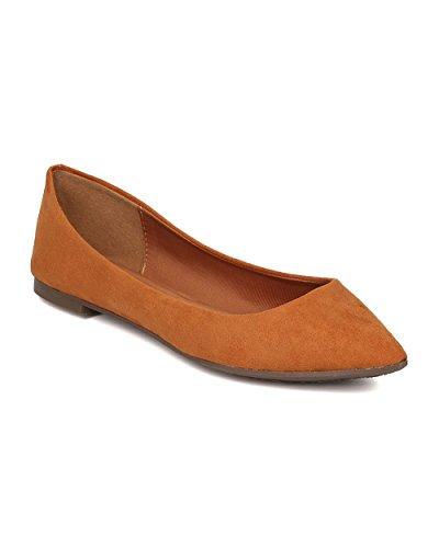 Breckelle's Women Pointy Toe Ballet Flat - Casual, Office, School - Slip On Flat - GH13 Tan (Size: 9.0) (Tan Metallic Ballet Flats Shoes)