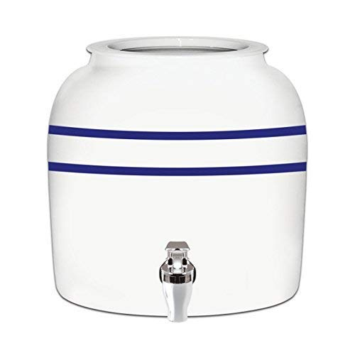 - Brio Striped Porcelain Ceramic Water Dispenser Crock with Faucet - LEAD FREE (Blue Stripe)