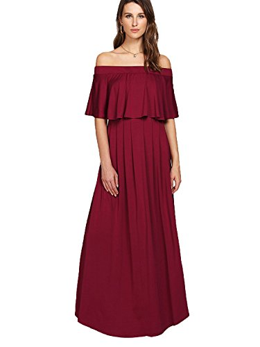 - Milumia Women's Off The Shoulder A Line Neckline Ruffle Party Maxi Dress Large Red
