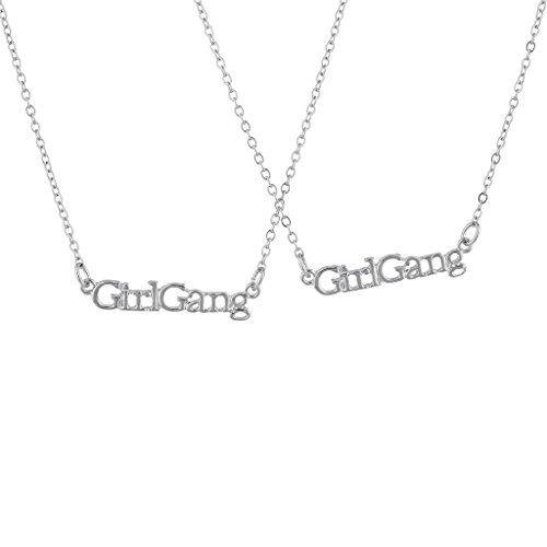 Lux Accessories Silvertone Girl Gang Best Friends BFF Nameplate Necklace Set 2PC