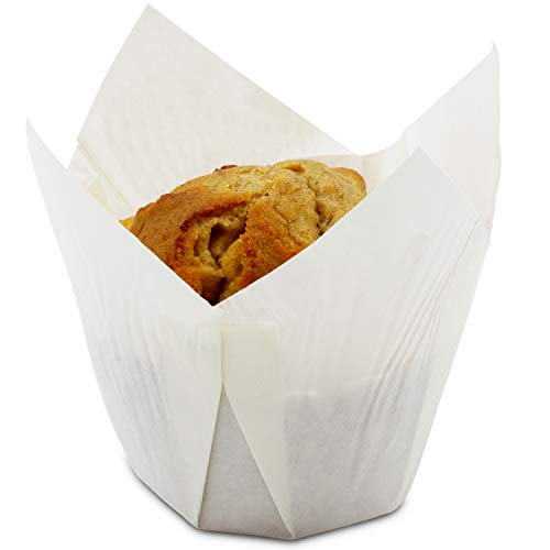 (Juvale Tulip Muffin Wrappers (100 Pack) Large Paper Liners, White)