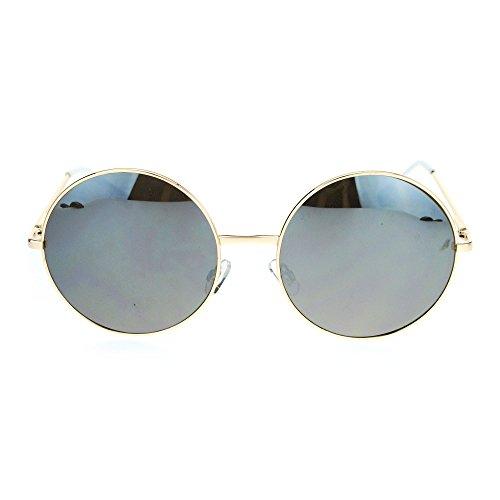 SA106 Oversize Hippie Groovy Round Circle Lens Retro Sunglasses Gold - Oversized Circle Mirror