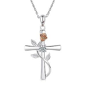 BlingGem Collier pour Femme Croix Rose Argent 925/1000 Oxyde de Zirconium Fleur Pendentif Collier Mère Fille Cadeau Fête…