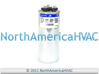 GE Genteq Capacitor round 40/5 uf MFD 440 volt 97F9838 (replaces old GE# Z97F9848BZ2), 40 + 5 MFD at 440 volts by...