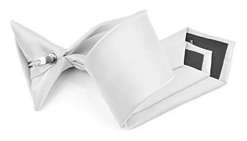 Moda Di Raza - Boy's NeckTie Solid Clip on Polyester Tie - Boys' Kids' Children's Solid Color Boys Formal Wear Pre-Tied Polyester Clip Necktie - White -