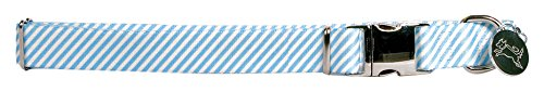 Yellow Dog Design Southern Dawg Seersucker Blue w/Labs Premium Dog Collar, Size Medium 14'' - 20'' 1'' Wide