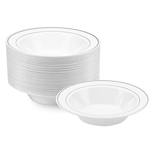 NYHI Plastic Disposable Soup Bowls (14 ounces) | Single Use Recyclable Dinnerware for Household, Restaurant, Weddings & Parties | BPA-free, Durable, Heat-Resistant Soup Plate & Salad Bowl| 50 ()