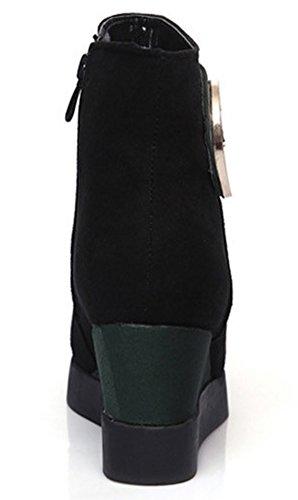 Idifu Womens Dressy Color Block Mid Sleehak Zijkant Zip Up Enkellaarzen Rijlaarzen Groen