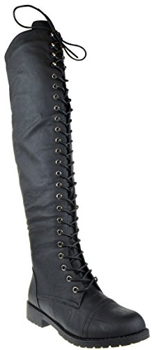 Shoe Dezigns Rider 33 Womens Thigh High Lace Up Combat Boots
