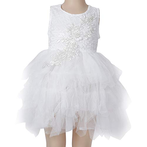 (Baby.Yep Girl Baby Girl Beaded Backless Peony Lace Back A-Line Tutu Tulle Party Flower Girl Dress)
