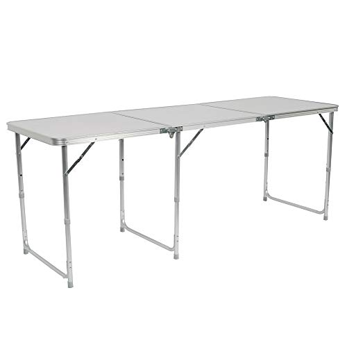 Festnight 6' Folding Camping Table Portable Indoor Outdoor Height Adjustable Dining Table with Aluminum Frame and Carrying Handle for Picnic Party Kitchen Dining Cookout Camping White