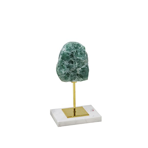 "Sagebrook Home 13326-01 Metal/Agate Tabletop Decor, 4.5"" x 3.5"" x 9"", Green"