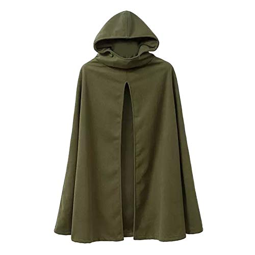 Womens Leisure Hooded Split Front Poncho Cape Cloak Trench Coat Outwear Halloween Outfit Army Green Size ()