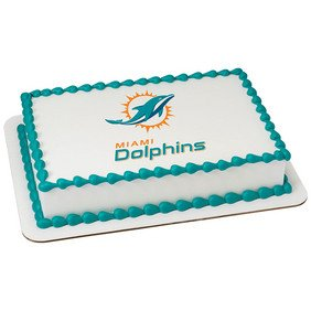 Magnificent Miami Dolphins Licensed Edible Cake Topper 35398 Amazon Com Funny Birthday Cards Online Elaedamsfinfo