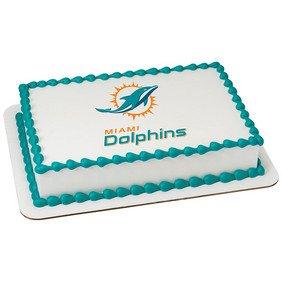 Surprising Miami Dolphins Licensed Edible Cake Topper 35398 Amazon Com Funny Birthday Cards Online Hendilapandamsfinfo