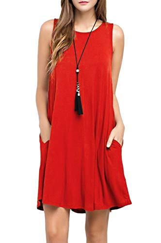 CLANDY Pocket Casual Loose T-Shirt Dress, Girls Womens Sleeveless Dress with Pockets Sexy Swing Beach Tank Vest Sundress for Christmas Party Red Size XL