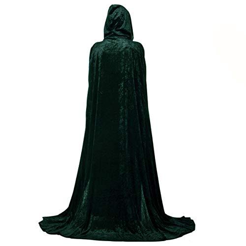 Danse Jupe Unisex Pleuche Hooded Cloak Full Length Halloween Cape Christmas Cosplay Costumes Robe(Blackish Green,L) -