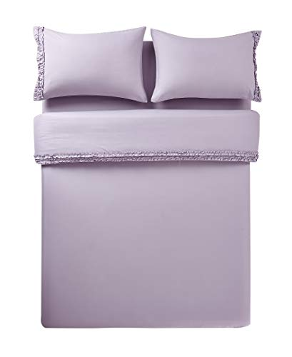 Lily & David | Bella Shabby Chic Easy Care Ruffled 4pcs Microfiber Queen Bed Sheet Sets 90gsm - Flat Sheet, Fitted Sheet, 2 Pillow Cases, Queen (Lavender)