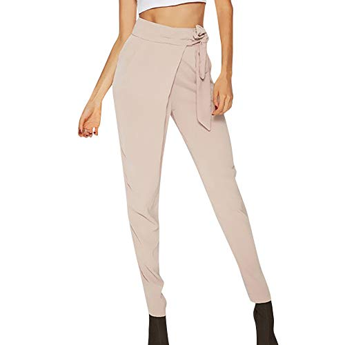 Kirbyates Women Fashion Solid Bow Tie Belted High Waist Harem Pants Women Bandage Elastic Waist Striped Casual Pants