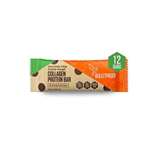 Bulletproof Collagen Protein Bars, Healthy Snacks for Keto Diet, Made with MCT Oil, Gluten Free, for Men, Women, and Kids, Chocolate Chip Cookie Dough, 12 Pack