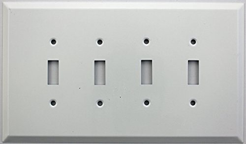 Jumbo Four (Over Sized Jumbo Smooth White Stamped Steel Four Gang Wall Plate - Four Toggle Switches)