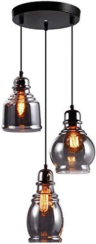 ESCENA Vintage Glass Pendant Light, UL-Listed Retro Hanging Lighting Fixture with 3 Lights, Unique Design Elegant Mirror Black Surface Chandelier, for Dinning Room, Bar, Cafe