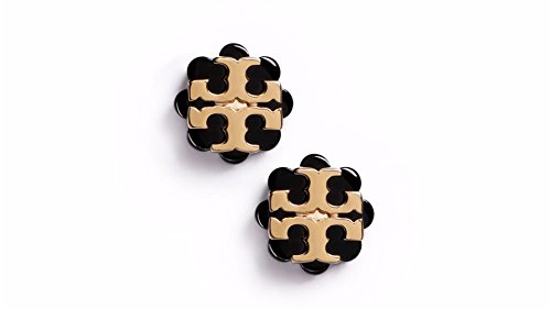 Tory Burch Flower Resin Logo Earrings - Black - Gold Burch Tory