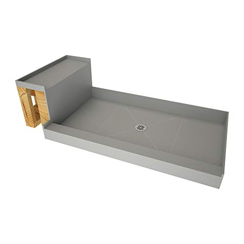 Tile Redi USA - Base'N Bench P3648C-RB36-KIT  Tileable Shower Pan & Seat - Flashing & Epoxy Included 60 Inches x 36 Inches Polished Chrome
