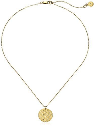 Michael Kors MK Etched Monogram Disc Gold Pendant Necklace