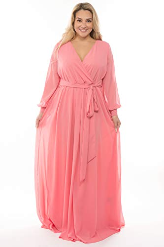 RICARICA Plus Size Floral Printed Chiffon Maxi Dress (Solid Peach, 1X)