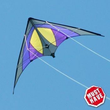 CIM Lenkdrachen - Shuriken MUSTHAVE Blue Sky - Kite für Kinder ab 8 Jahren - 120x60cm - inklusiv Steuerleinen auf Rollen - Einsteiger Lenkdrachen Colours in Motion