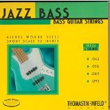 Thomastik-Infeld JR324 Bass Guitar Strings: Jazz Round wound 4-String Short Scale Set; Pure Nickel Rounds G, D, A, E Set
