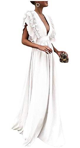 Da Vita V Scollo Sera A Bianco Alta Vestito Maniche donne Swing Grande Coolred Del Senza Puro Backless C4pqO