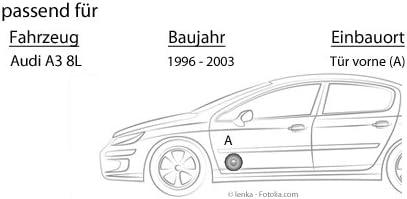 JUST SOUND best choice for caraudio Einbauset f/ür Audi A3 8L Lautsprecher Boxen Spectron SP-N25X 13cm 2-Wege Koax Auto Einbauzubeh/ör