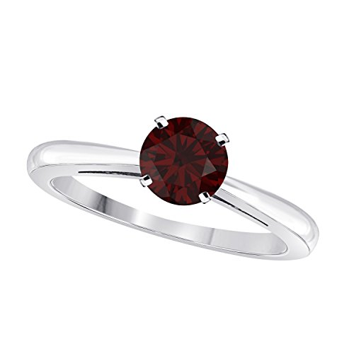 Elegant 1 Ct One Carat Round Cut Solitaire Created Red Garnet Engagement Ring in .925 Sterling Silver Plated