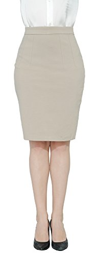 Marycrafts Women's Work Office Business Pencil Skirt XL Light Beige 2 ()